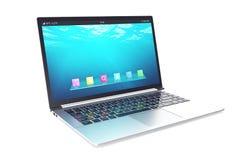 Geopend notitieboekje met blauw onderwaterdiebehang op witte achtergrond wordt geïsoleerd 3D Illustratie Royalty-vrije Stock Foto's