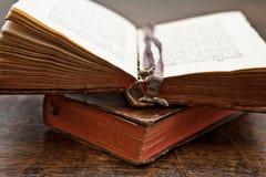 Geopend oud boek royalty-vrije stock foto's