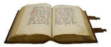 Geopend oud boek met slot, dat op wit wordt geïsoleerde Royalty-vrije Stock Foto
