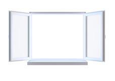 Geopend venster dat op wit wordt geïsoleerde Royalty-vrije Stock Afbeeldingen