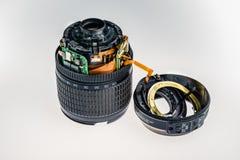 Geopend, wordt demonteerde de lens stock foto's
