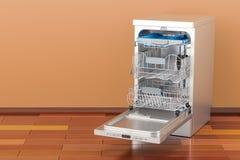 Geopende Afwasmachine in ruimte op de houten vloer, het 3D teruggeven Royalty-vrije Stock Foto