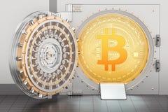 Geopende bankkluis met 3D bitcoin, Stock Foto