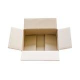 Geopende bruine karton verschepende doos Stock Foto's