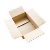 Geopende bruine karton verschepende doos Stock Foto