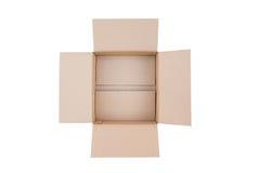 Geopende bruine karton verschepende doos Stock Afbeeldingen