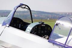 Geopende cockpit van Zlin Z die 26 Trener twee zetel Tsjechoslowaakse vliegtuigen opleiden Stock Afbeelding