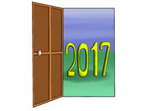 Geopende deur tot 2017 Royalty-vrije Stock Foto