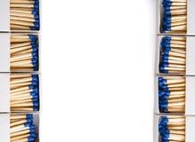 Geopende die lucifersdoosjes op wit met het knippen van weg als kader wordt gevormd royalty-vrije stock afbeelding
