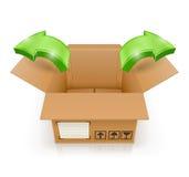 Geopende doos met buiten pijl Stock Foto