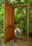 Geopende houten deur met bos Royalty-vrije Stock Fotografie