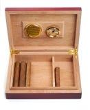 Geopende humidor met sigaren royalty-vrije stock foto's