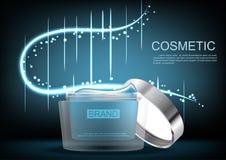 Geopende kosmetische room met blauw abstract licht op donkere bsckgroun Stock Foto