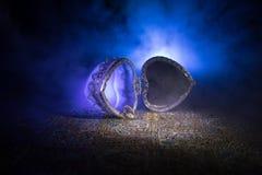 Geopende oude uitstekende zilveren hart-vormige kist voor trouwringen op donkere gestemde rokerige lichte achtergrond het concept Stock Foto's