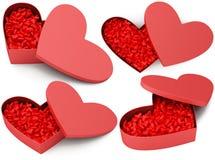 Geopende rode hartdoos met kleine harten Stock Afbeelding