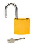 Geopende slot en sleutel royalty-vrije stock afbeeldingen