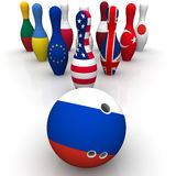Geopolitics as a bowling game Royalty Free Stock Image