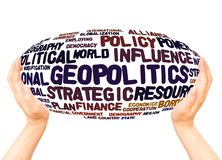 Geopolitics word cloud hand sphere hand sphere concept. On white background royalty free stock photos