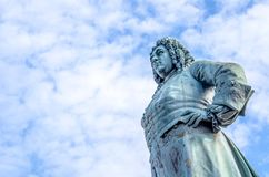 Georg Friedrich Handel Statue in Halle Saale. Downtown, market square royalty free stock images