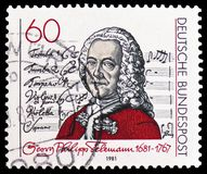 """Georg Philipp Telemann and title page of """"Singet dem Herrn"""" Cantata, serie, circa 1981. MOSCOW, RUSSIA - FEBRUARY 21, 2019: A stamp printed in stock image"""