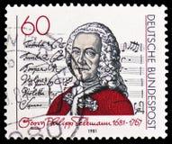 """Georg Philipp Telemann y página de título de la cantata del  del dem Herrn†del """"Singet, serie, circa 1981 imagen de archivo"""
