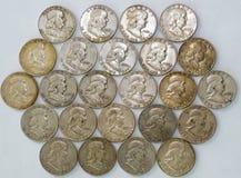 Georganiseerd Franklin Half Dollar Coins stock foto