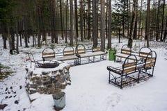 Georganiseerde plaats voor barbecue in het bos van de de winterpijnboom, met een steenfornuis en banken Royalty-vrije Stock Foto