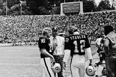 George Blanda and Ken Stabler Oakland Raiders. Former Oakland Raiders legends, George Blanda (16) and Ken the Snake Stabler.  Image taken from B&W negative Royalty Free Stock Photo