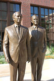 George Bush. Two famous Presidents at the George Bush Library. These statues stand outside in the courtyard of the George Bush Library Royalty Free Stock Photo