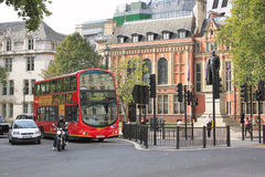 George Canning statue,  London red double-decker bus  in Parliam Stock Photos