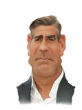 George Clooney Caricature Portrait Imagens de Stock Royalty Free