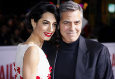 George Clooney e Amal Clooney Fotografia de Stock Royalty Free