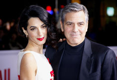 George Clooney e Amal Clooney Imagem de Stock