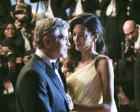 George Clooney and his wife Amal Alamuddin Stock Photo