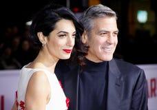 George Clooney och Amal Clooney Arkivfoto
