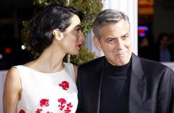 George Clooney och Amal Clooney Royaltyfria Foton