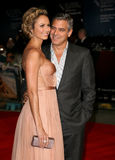 George Clooney, Stacy Keibler. George Clooney and Stacy Keibler arriving for the The BFI London Film Festival: The Descendants - Premiere, at Odeon Leicester Royalty Free Stock Photography