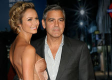George Clooney, Stacy Keibler. George Clooney and Stacy Keibler arriving for the The BFI London Film Festival: The Descendants - Premiere, at Odeon Leicester Royalty Free Stock Photos
