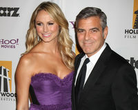George Clooney, Stacy Keibler Stock Photos