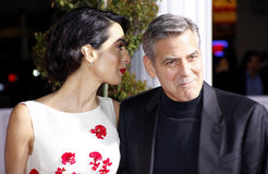 George Clooney und Amal Clooney Lizenzfreie Stockfotos