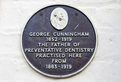 George Cunningham Plaque in Cambridge Lizenzfreies Stockbild