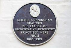 George Cunningham Plaque en Cambridge Imagen de archivo libre de regalías