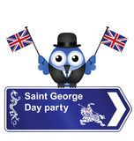 George Day party sign. Comical Saint George Day party sign isolated on white background Stock Photography