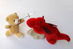 Cute and fearsome plush toys Stock Images