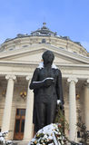 George Enescu statue during winter Royalty Free Stock Photos