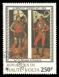 George and Eustachius by Albrecht Durer. Upper Volta - stamp 1978: Color edition on Art, shows Painting George and Eustachius by Albrecht Durer Royalty Free Stock Images