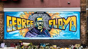 Free George Floyd Mural Artwork In Minneapolis, Minnesota After The Black Lives Matter Protests And Riots. Stock Photos - 193061343