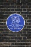 George Frideric Handel Plaque in London Stock Photo