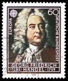 George Friedrich Handel Europa C E P T 1985 - Europeiskt år av musikserie, circa 1985 arkivbild