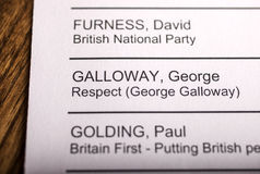 George Galloway on a Ballot Paper Stock Photos